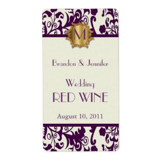 De mauve Etiketten van de Wijn van het Huwelijk