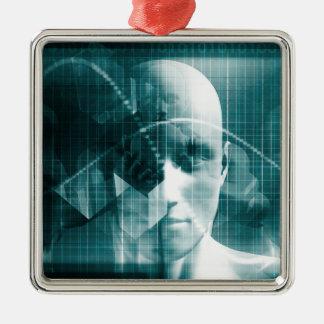 De medische Futuristische Technologie van de Zilverkleurig Vierkant Ornament