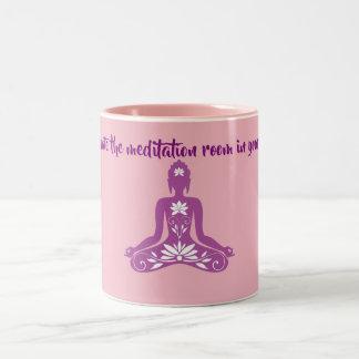 de meditatie is één tweekleurige koffiemok