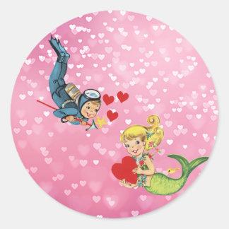 De Meermin en de Scuba-duiker van het Kind van Ronde Sticker