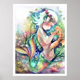 """De """"meermin houdt"""" Poster van haar Seahorse"""