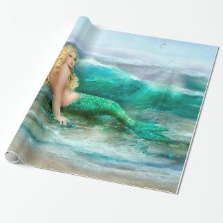 De Meermin van de fantasie op Kust van Blauw Zee Cadeaupapier
