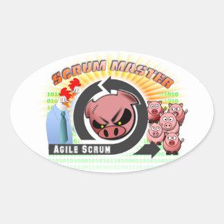 De Meester van het scrum Ovale Sticker