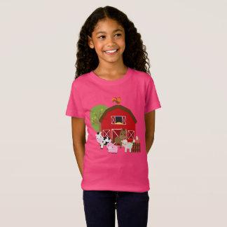 De meisjes bewerken de T-shirt van het Boerenerf