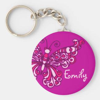 De meisjes paarse roze naam van de vlinder basic ronde button sleutelhanger