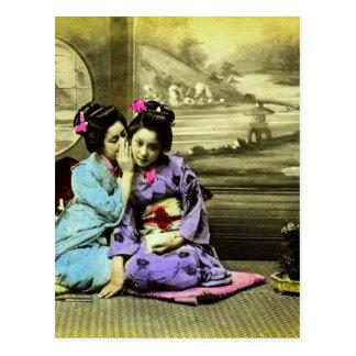 De Meisjes van de Geisha van de roddel van Oud Briefkaart