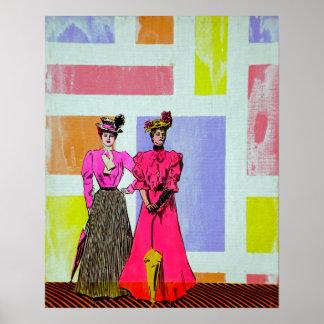 De Meisjes van Gibson in een Patroon Mondrian Poster
