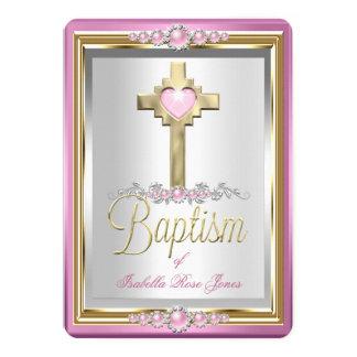 De Meisjes van het Doopsel van het doopsel kruisen 12,7x17,8 Uitnodiging Kaart