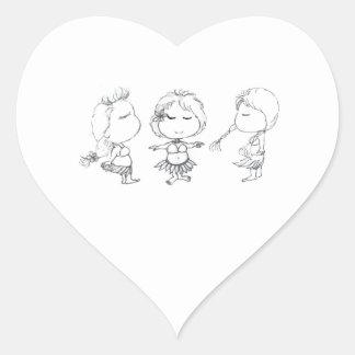 De Meisjes van Hula van Aloha Hartvormige Stickers