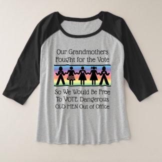 De meisjes zullen stemmen grote maat raglan t-shirt