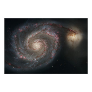 De Melkweg van de draaikolk M51+De Melkweg 36x24 Poster