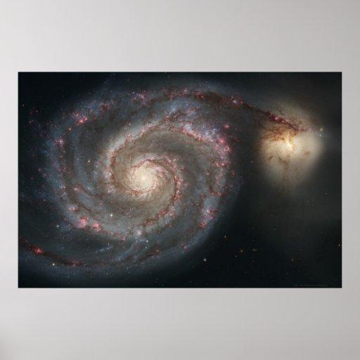 De Melkweg van de draaikolk M51+De Melkweg 36x24 v Posters