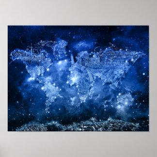de melkwegblauw 2 van de wereldkaart poster
