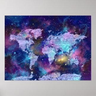 de melkwegblauw 4 van de wereldkaart poster