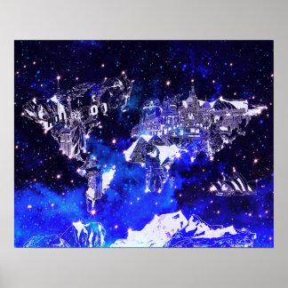 de melkwegblauw van de wereldkaart poster
