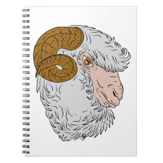 De merinos HoofdTekening van de Schapen van de Ram Ringband Notitieboek