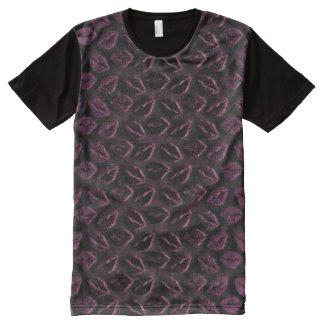 De metaal Paarse Zwarte 3D Kus van de Pruim Noir All-Over-Print T-shirt