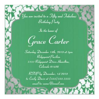 De metaal Smaragdgroene Gelukkige Uitnodiging van