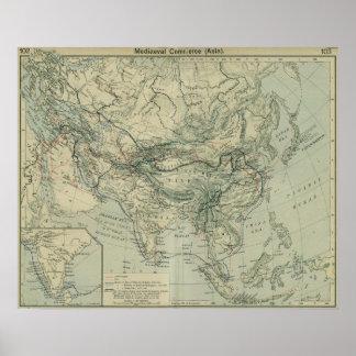 De middeleeuwse Routes van de Handel Poster