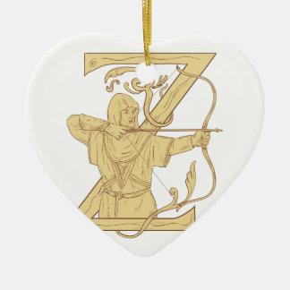 De middeleeuwse Schutter die de Brief Z streven Keramisch Hart Ornament