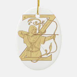 De middeleeuwse Schutter die de Brief Z streven Keramisch Ovaal Ornament