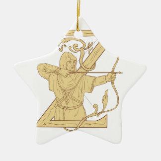 De middeleeuwse Schutter die de Brief Z streven Keramisch Ster Ornament
