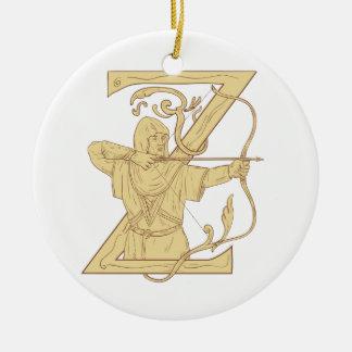 De middeleeuwse Schutter die de Brief Z streven Rond Keramisch Ornament