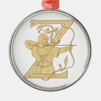 De middeleeuwse Schutter die de Brief Z streven Zilverkleurig Rond Ornament