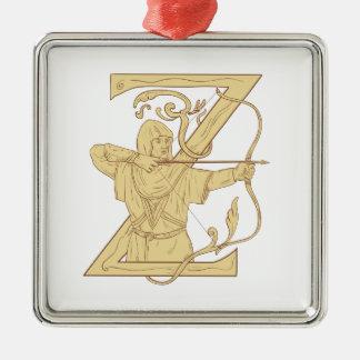 De middeleeuwse Schutter die de Brief Z streven Zilverkleurig Vierkant Ornament