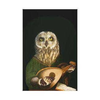 De middeleeuwse Uil speelt de Luit - Antropomorf Gallerij Wrapped Canvas