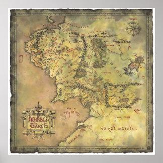 De midden Kaart van de Aarde Poster