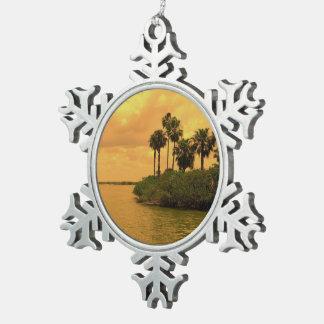 De Mijmerij van de palm Tin Sneeuwvlok Ornament