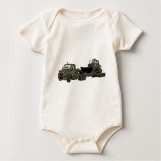 De militaire Semi Flatbed Cartoon van de Bulldozer Baby Shirt