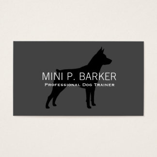 De miniatuur Zwarte van het Silhouet Pinscher op Visitekaartjes