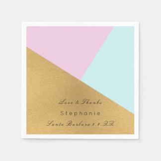De minimale Zwarte Gouden Blauwe Pastelkleur Roze Papieren Servetten