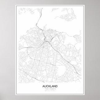 De Minimalistische Kaart van Auckland, Nieuw Poster