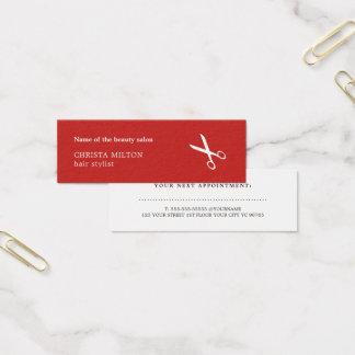 De minimalistische Rode en Witte Kapper van de Mini Visitekaartjes