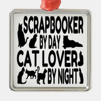 De Minnaar Scrapbooker van de kat Zilverkleurig Vierkant Ornament