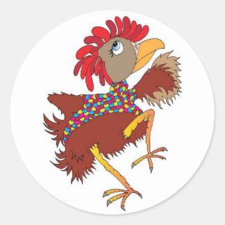 De minnaars van de kip ronde sticker