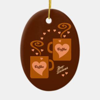 De Minnaars van de koffie sieren, passen aan Keramisch Ovaal Ornament