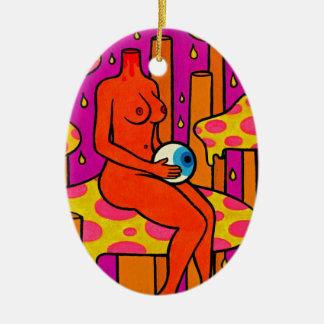 De Mistroostigheid van de paddestoel #1 Keramisch Ovaal Ornament