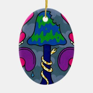 De Mistroostigheid van de paddestoel #2 Keramisch Ovaal Ornament