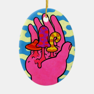 De Mistroostigheid van de paddestoel #3 Keramisch Ovaal Ornament