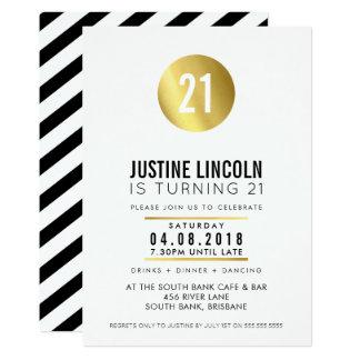 De MODERNE 21ST verjaardagspartij NODIGT gouden 12,7x17,8 Uitnodiging Kaart