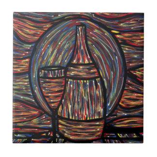De moderne Abstracte Fles en het Glas van de Wijn Keramisch Tegeltje
