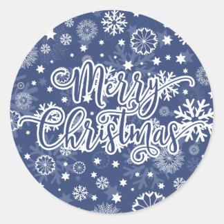 De moderne Blauwe Sticker van Kerstmis van de
