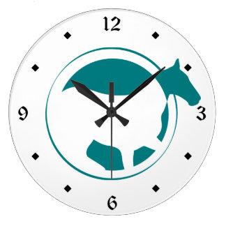 De moderne Blauwgroen Cirkel van het Paard Grote Klok
