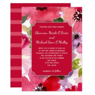 De moderne Bloemen Rode Uitnodiging van het Kaart