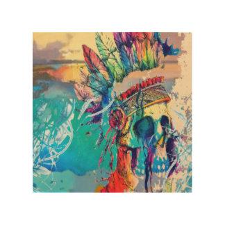 De moderne druk van de Schedel van de Abstracte Houten Canvas