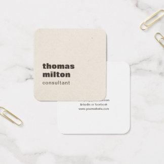 De moderne Eenvoudige Bruine Adviseur van de Vierkante Visitekaartjes